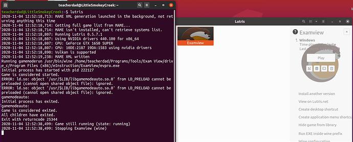 Lutris Output run Examview