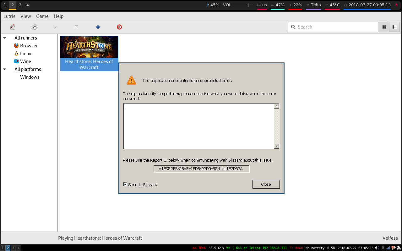 Crashes on opening battle net - Support - Lutris Forums