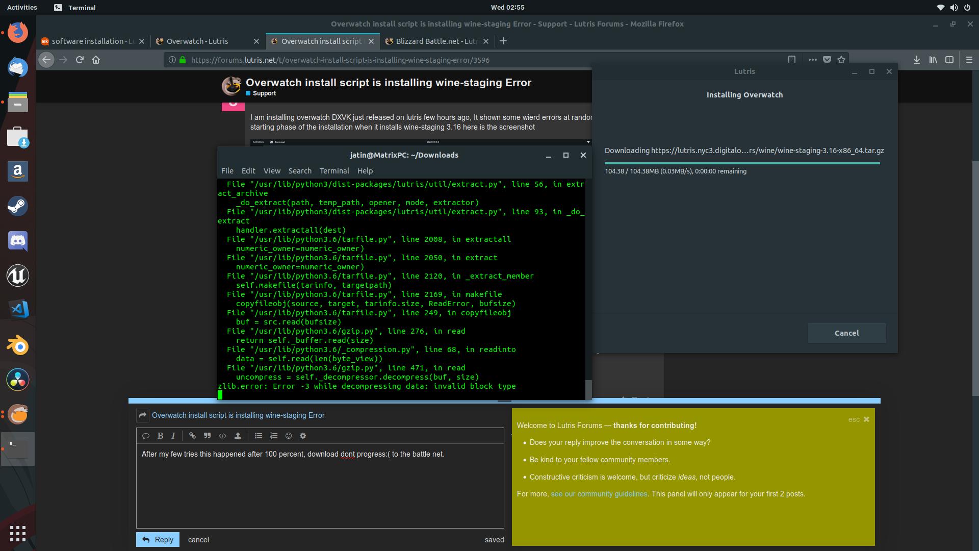 Overwatch install script is installing wine-staging Error - Support